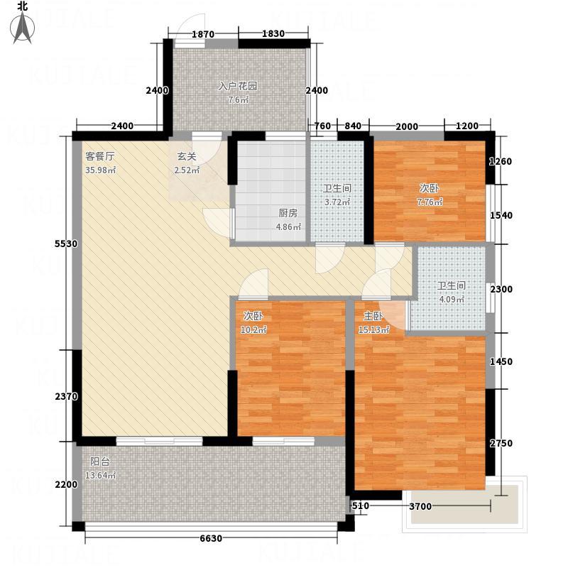 鑫源国际广场123.20㎡K栋01单元户型3室2厅2卫1厨