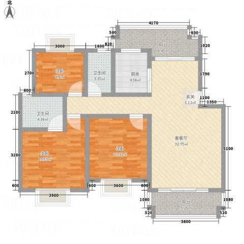富新・国际豪城3室1厅2卫1厨89.38㎡户型图