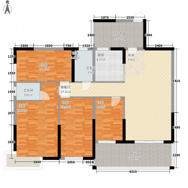 鑫源国际广场15.56㎡K栋08单元户型4室2厅2卫1厨