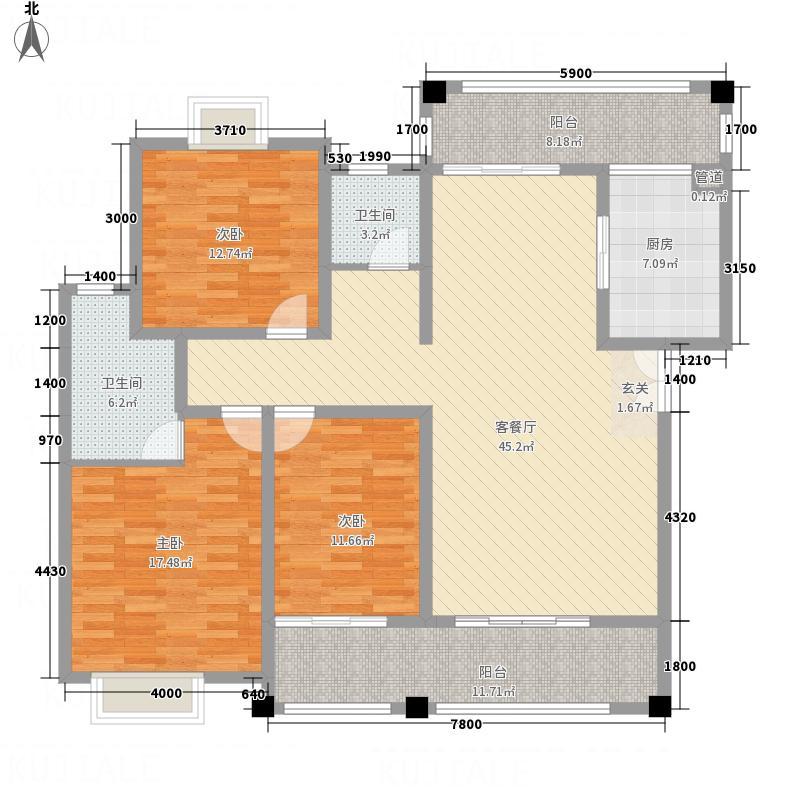 富新・国际豪城13.00㎡A1户型3室2厅2卫