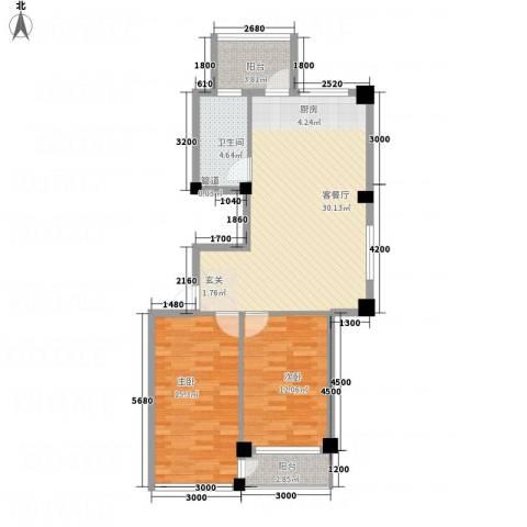云鼎家园2室1厅1卫0厨68.82㎡户型图
