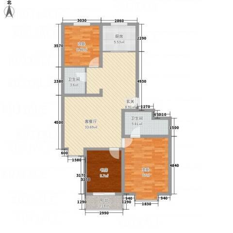 佳境天成3室1厅2卫1厨125.00㎡户型图