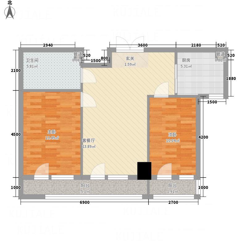 翔峰・财富海景6.81㎡4#G15户型2室2厅1卫1厨