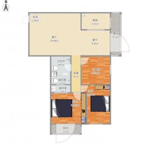 安慧北里逸园3室3厅1卫1厨131.00㎡户型图