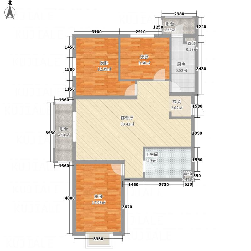 北馨理想城125.17㎡10#楼户型3室2厅1卫1厨