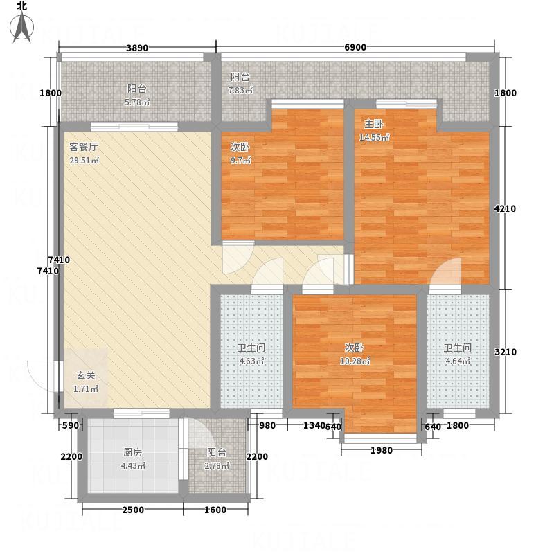 宏丰时代名典16.00㎡C2、C3户型3室2厅2卫1厨