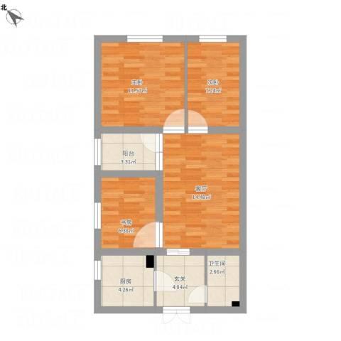 望京中环南路3号院3室1厅1卫1厨71.00㎡户型图