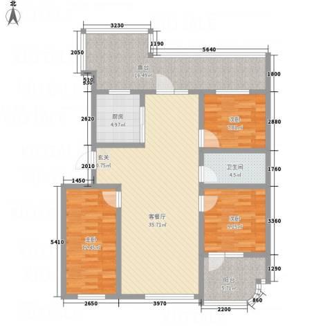 金湖水岸3室1厅1卫1厨139.00㎡户型图