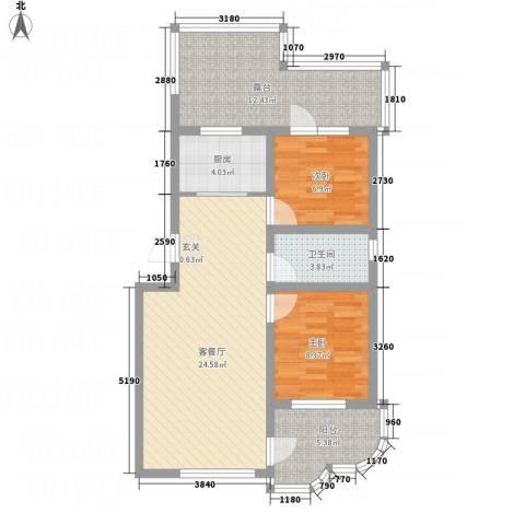金湖水岸2室1厅1卫1厨95.00㎡户型图
