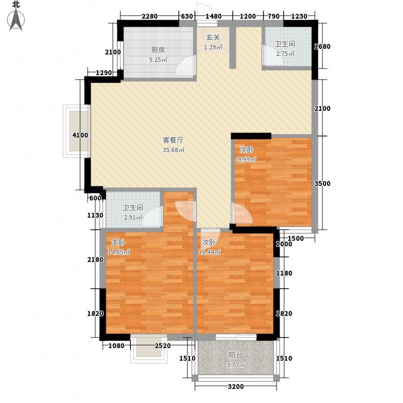 亿龙・福星城118.10㎡2-B户型3室2厅2卫1厨