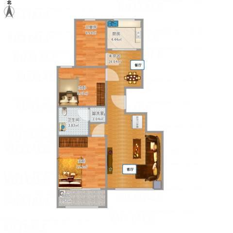 名仕佳苑3室1厅1卫1厨88.00㎡户型图