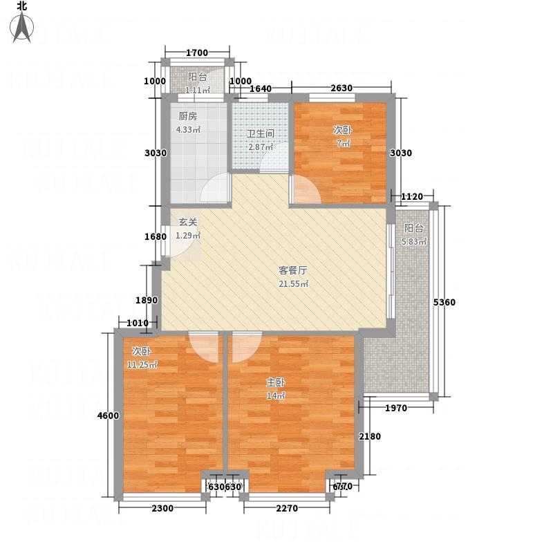 凤凰湖4.00㎡户型3室2厅1卫1厨