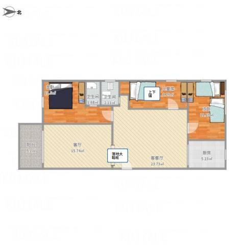 林和西小区3室2厅2卫1厨115.00㎡户型图