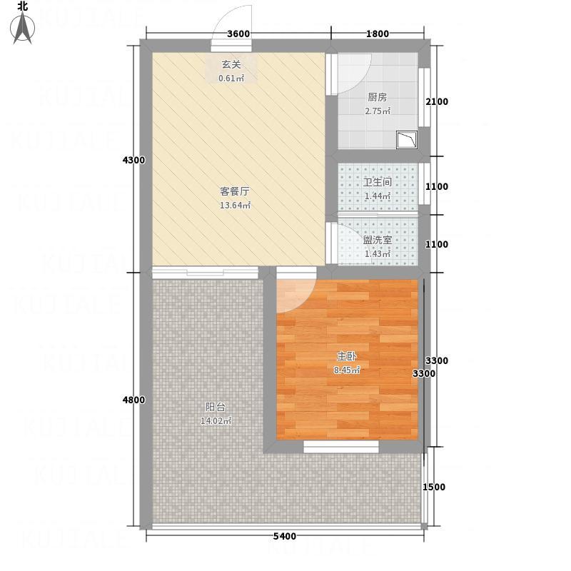 梓州国际公寓51.70㎡G户型1室1厅1卫