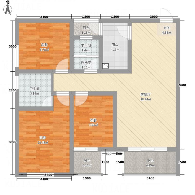 梓州国际公寓17.75㎡H户型3室2厅2卫