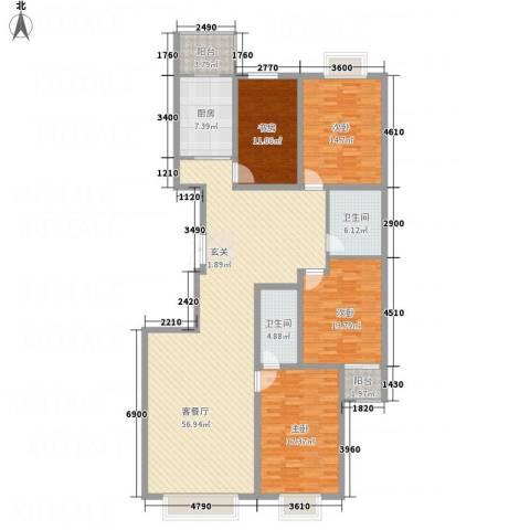 文华园竹韵4室1厅2卫1厨194.00㎡户型图