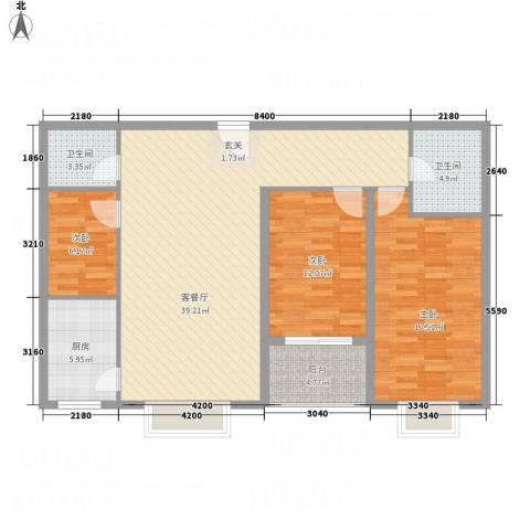 文华园竹韵3室1厅2卫1厨131.00㎡户型图