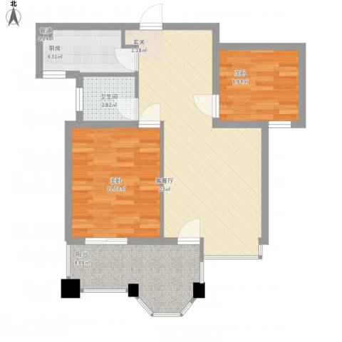金都嘉园2室1厅1卫1厨81.00㎡户型图