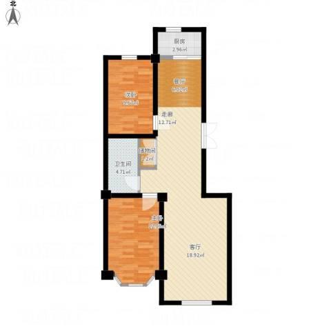 枫桥河畔2室1厅1卫1厨97.00㎡户型图