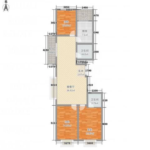 文华园竹韵3室1厅2卫1厨143.00㎡户型图