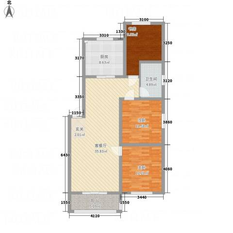一品名郡3室1厅1卫1厨126.00㎡户型图