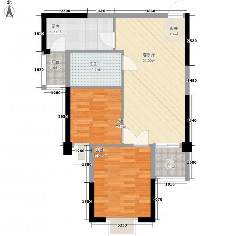 汉水华城76.00㎡朝南B户型2室2厅1卫1厨