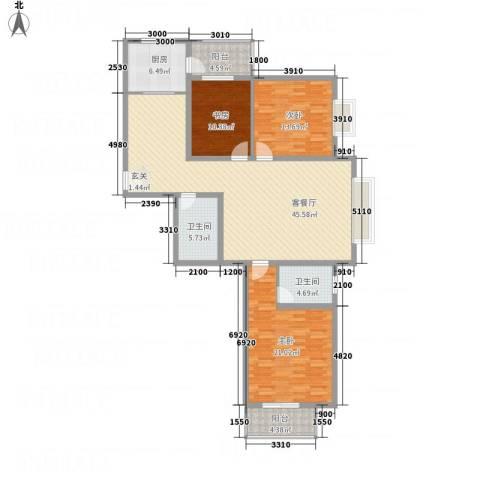 文华园竹韵3室1厅2卫1厨164.00㎡户型图