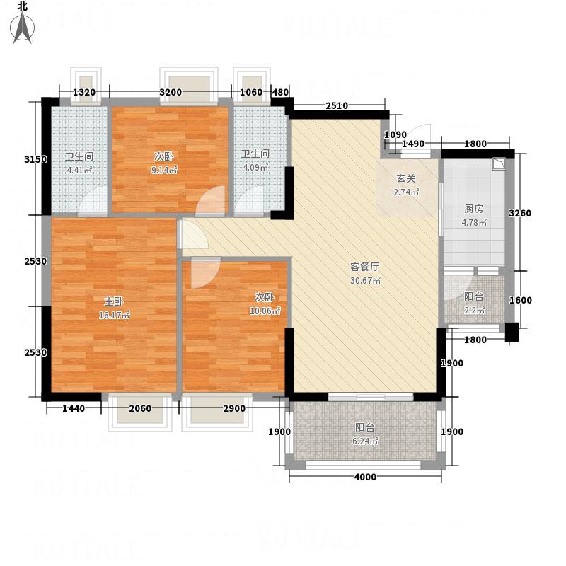 天鹅湾114.00㎡爱琴心岸14栋5-16层标准层04户型3室2厅2卫1厨
