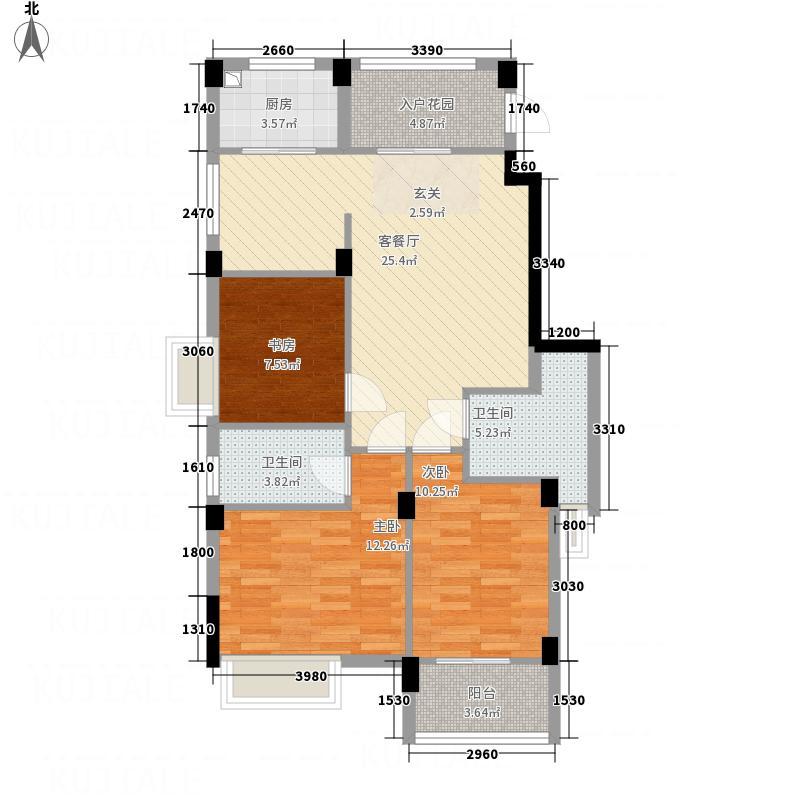 凯晟公园1号8#/9#A户型3室2厅2卫1厨