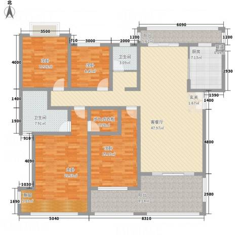 富新・国际豪城4室1厅2卫1厨172.00㎡户型图