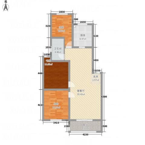 一品名郡3室1厅1卫1厨122.00㎡户型图