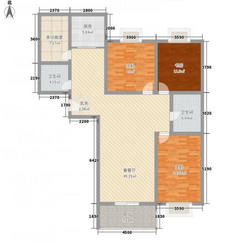 文华园竹韵3室1厅2卫1厨171.00㎡户型图