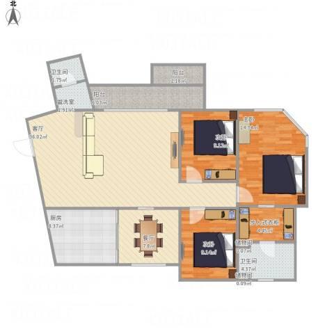加城花园3室3厅2卫1厨143.00㎡户型图