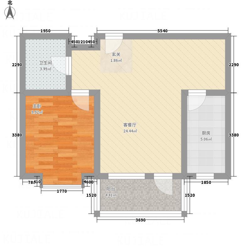 海德花园68.81㎡户型1室2厅1卫1厨