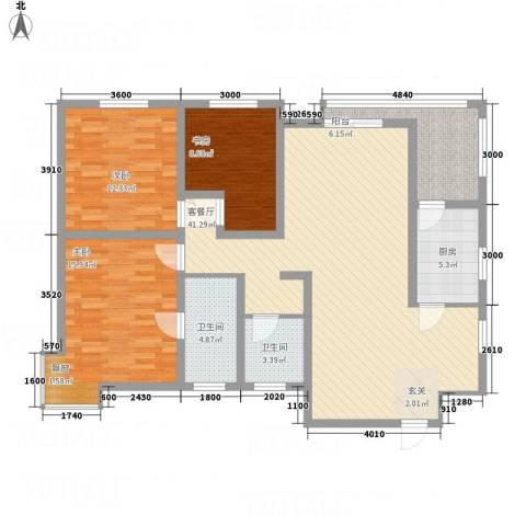 陈杨新界3室1厅2卫1厨132.00㎡户型图