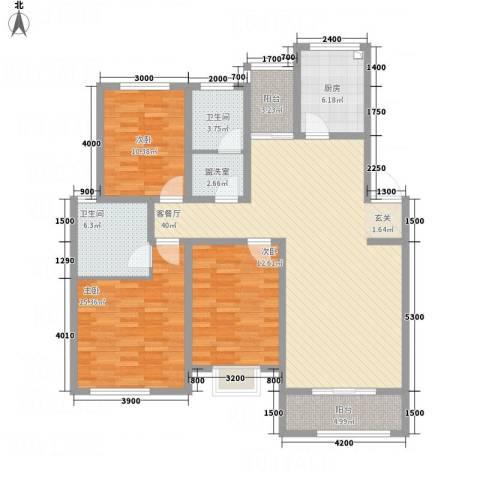 海通时代康桥3室2厅2卫1厨152.00㎡户型图