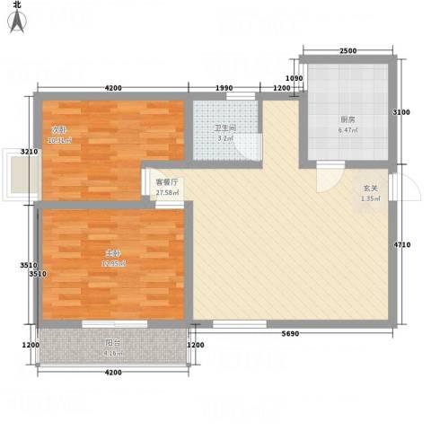 陈杨新界2室1厅1卫1厨64.68㎡户型图