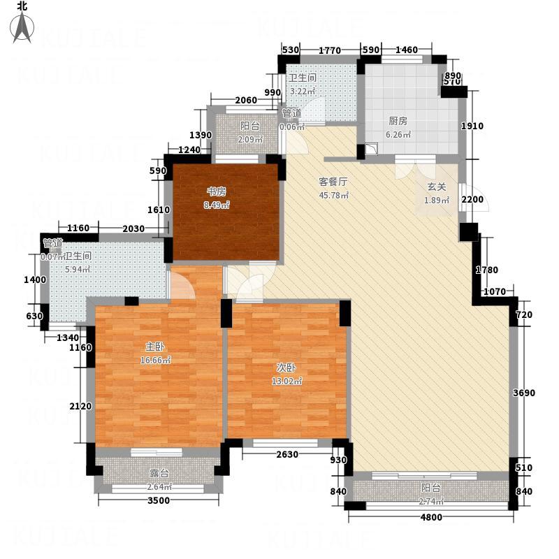 中旅国际小镇127.00㎡洋房户型3室2厅2卫1厨