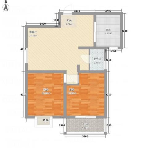 陈杨新界2室1厅1卫1厨65.68㎡户型图