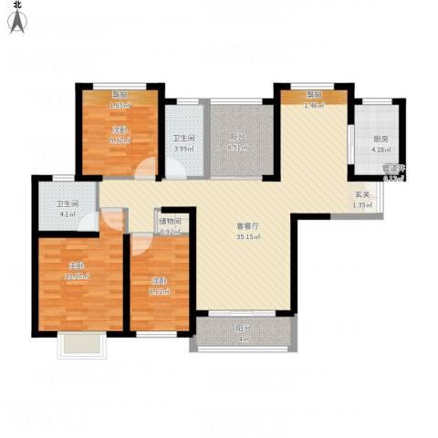 无锡海岸城3室1厅2卫1厨129.00㎡户型图