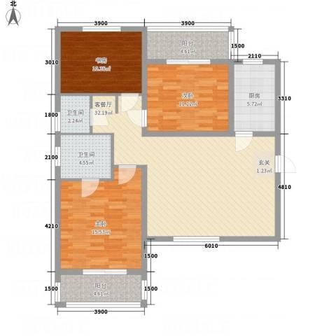 陈杨新界3室1厅2卫1厨126.00㎡户型图