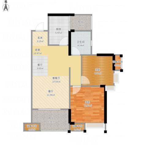 拓新御府2室1厅1卫1厨96.00㎡户型图
