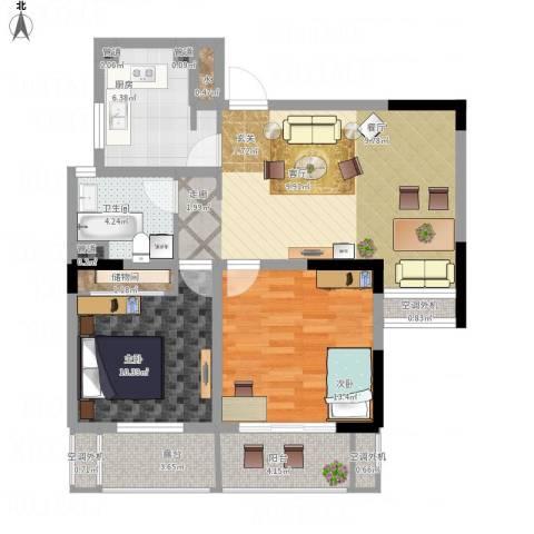 齐河德百玫瑰园2室1厅1卫1厨102.00㎡户型图