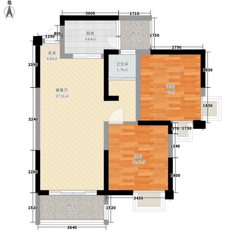 中铁涪江新园83.00㎡E1户型2室2厅1卫1厨