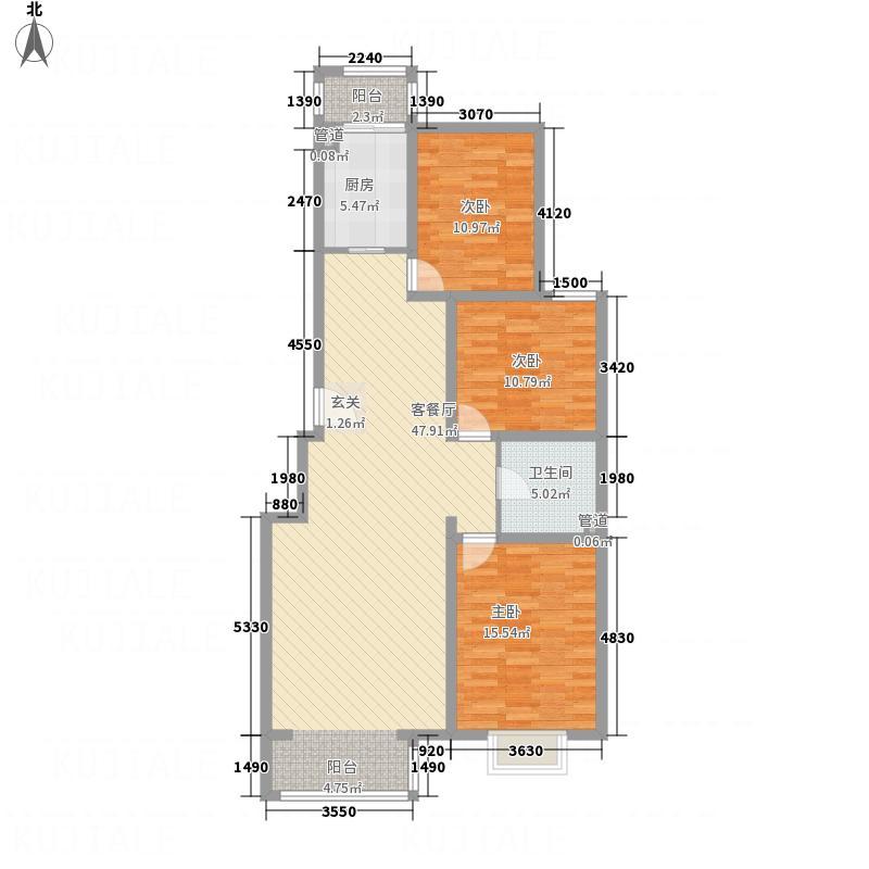北馨理想城132.30㎡8#楼D户型3室2厅1卫1厨