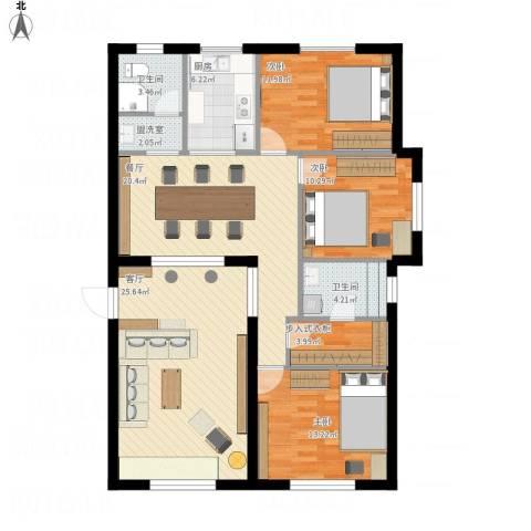 新世纪花园3室3厅2卫1厨144.00㎡户型图