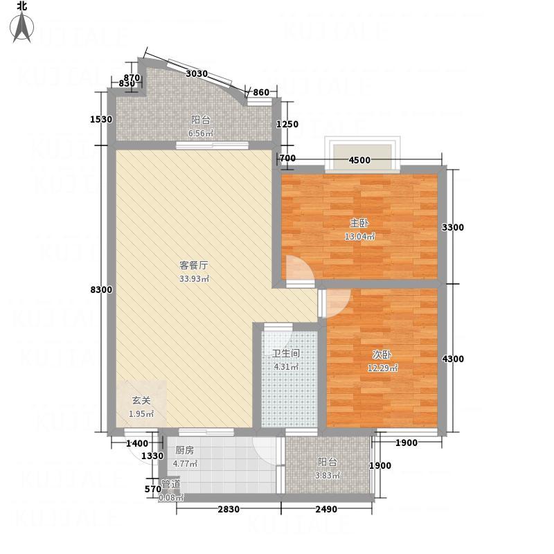天浩富乐银座5.73㎡B户型2室2厅2卫