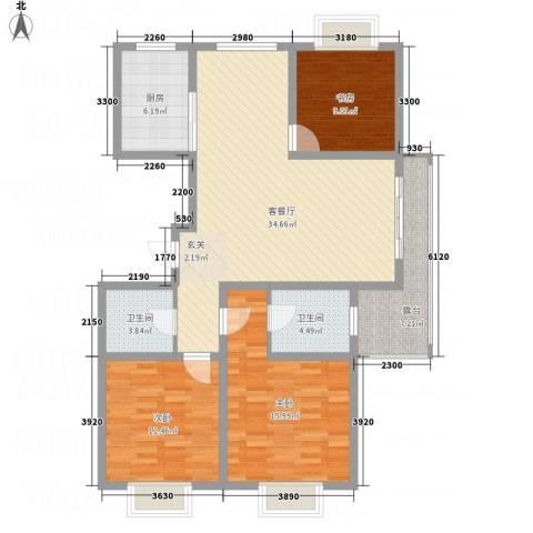 华都馨苑3室1厅2卫1厨107.52㎡户型图