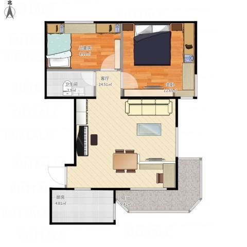 望京花园西区2室1厅1卫1厨76.00㎡户型图