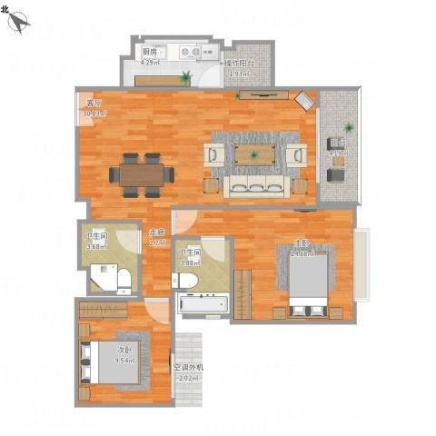 兆丰帝景苑2室1厅2卫1厨115.00㎡户型图
